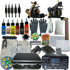 Pro Complete Tattoo Kit With Case 2 Machine Gun 6 Color Ink Set Power Supply Set