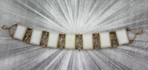 Vintage Lucite White Bracelet size 6 1/2  Wire Wrapped
