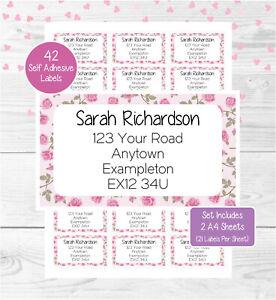 Flowers (Rose) Personalised Address Labels, 42 Floral Custom Return Stickers