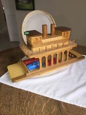 Vintage Wood Ferry Ship Boat Toy Folkart Art Cars Hand Home Made
