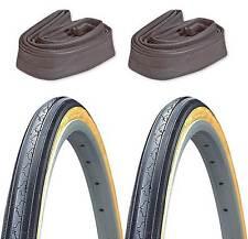 2-Pack Kenda K35 Black/Gumwall 27x1-1/4 Road Bike Tires & 2 Schrader Inner Tubes