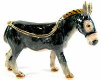 Grey Donkey - Jewelled Trinket Box or Figurine Approx Size 6cm High
