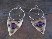 Pretty Women 925 Silver Amethyst Ear Hoop Hook Drop Wedding  Jewelry Earrings