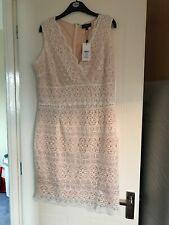 Lipsy Dress Size 18 White Lace V Neck Bodycon Bnwt