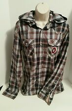 Buffalo David Bitton Men's Hooded Button Front Long Sleeves Shirt Plaid Size L