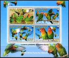 2009 Malawi, birds,  Lilianés Lovebird, WWF,  souvenir sheet, MNH