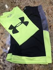 Boys Under Armour Set Shorts /Shirt Youth Large. Black & Neon Yellow