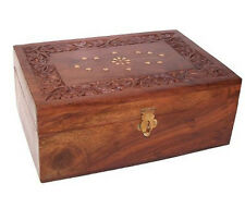 Wood and Brass Inlay Aromatherapy Oils Box Holds 24 x 10ml Essential Oil Bottles