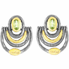 100% NATURAL 5X3MM PERIDOT HANDMADE 2-TONE YELLOW GOLD & SILVER 925 EARRING
