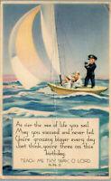 Birthday Blessing • Sea of Life 1944 • Vintage Postcard AA-003