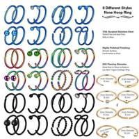 16Pcs Stainless Steel Nose Hoop Rings Cartilage Helix Ring Lip Ear Piercing 20G