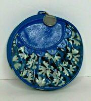 Vera Bradley Frill Blue Lagoon Peek A Boo Coin Purse Zipper Retired Vinyl