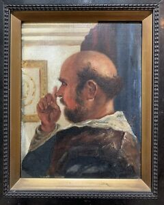 Amazing Old Signed Mystery Antique Framed Oil Painting Of A Monk. Irish Artist?