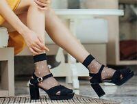Lady Women Fancy Retro Dots Black Lace Transparent Thin Short Ankle Summer socks