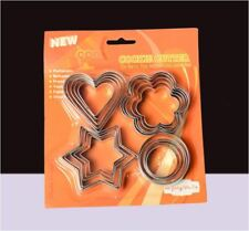 Set of 12 -  Heart Flower Star Circle Stainless Steel Cookie Biscuit Cake Cutter