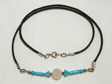 """ROSE QUARTZ AND TURQUOISE CHOKER NECKLACE 46CM SILVER PLATED """"NEW"""" AUZ MADE CH12"""