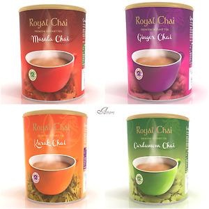 Royal Chai Indian Tea Masala/Karak/Elaichi/Ginger (Sweetened W/O Suger) Tub 400g