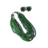 Vtg Green Blue Beaded Multi Strand Choker Necklace & Clip On Earrings W Germany