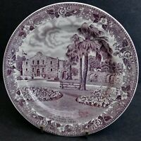 """Old English Staffordshire Ware 6 3/4"""" Mulberry Plate-The Alamo Texas"""