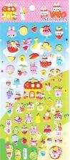 Kawaii Raised Cute Woodland Animal Picnic Stickers Cakes Food Fruits Stationery