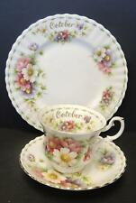 Three Piece Royal Albert Luncheon Set Flower of the Month October Cosmos Flowers
