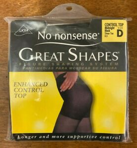 No Nonsense Great Shapes Enhanced Control Top Midnight Black Sheer Toe Size D
