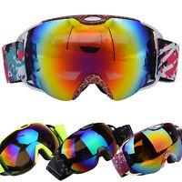 Unisex Double Lens UV400 Goggles Anti-fog Spherical Ski Snowboard Skiing Glasses