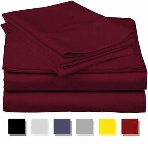True Luxury 1000-Thread-Count 100% Egyptian Cotton Bed Sheets, 4-Pc Queen Burgun