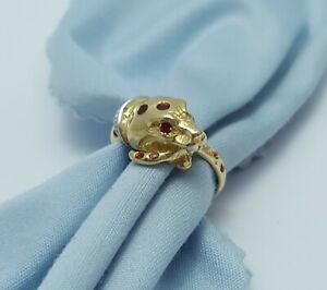 18K Solid Two Tone Multi Tone Ladies Snake Ring with Colored Enamel & Rubies