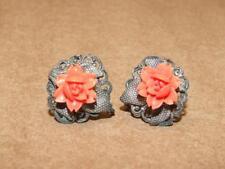 VTG Antique Filigree Silver over Copper & Faux Coral Rose Flower Screw Earrings