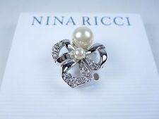 Swarovski Crystals & Pearl 0697 Nina Ricci Rhodium Plated Pin with