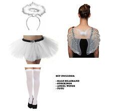 Ladies White Fancy Dress Angel Costume Full Party Set Christmas Wings Tutu Halo