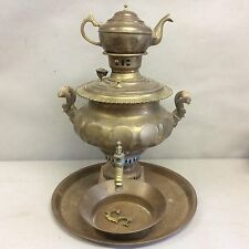 Russian Brass Samovar w/Imperial Double Eagle Stamp 18""