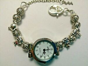 Handmade Silver HARRY POTTER Watch Bracelet with 4 Silver Charms -- 18 cm.