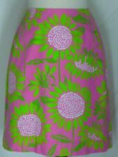 Lilly Pulitzer Hot Pink Skirt Green Flowers Soliel 8 A-Line