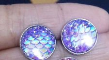 MERMAID FISH SCALE RESIN PURPLE ROUND CLIP ON EARRINGS 12MM. SILVER