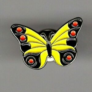 Butterfly pin badge. Yellow wings and red spots. Metal Enamel. Nice design