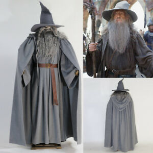 High-quality Gandalf The Hobbit Grey Cloak Hat Costume Cosplay Dress Suit Gifts