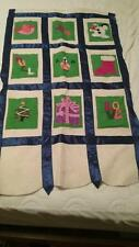 Original Handmade Christmas Tapestry Felt Back with Square Panels Nylon Trim EUC