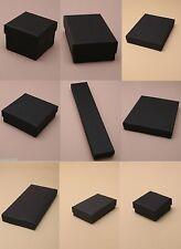 PACK OF 12 BLACK CARD GIFT JEWELLERY BOXES FLOCK INSERT WHOLESALE BULK BUY