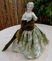 Antique German Porcelain China Half Doll Figurine Wire Stand No 5024 Pin Cushion