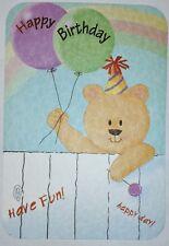 1 Birthday Greeting Card/Envelope Happy Care Love Child Family Friend Wish Bear