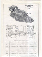 Austin Marine Engines Skipper and Chief 1949 Specification Single Sheet