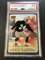 CHARLES WOODSON 1998 SKYBOX PREMIUM #232 ROOKIE RC NM-MINT PSA 8 RAIDERS NFL