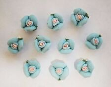 10 Porcelain Flower Beads - Pale Blue - 10mm x 7mm