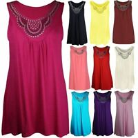 Ladies Sleeveless Studded Stretchy Vest Top Women Fancy Plus Size Long Tunic Top