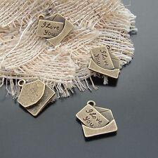 30X Antique Style Bronze Alloy Love Letter Charms Pendants 18*16mm