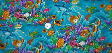 Wow Hawaii Fabric Ocean 9 x 18 Turtle 100% Cotton Tropical Fish Turtles Hawaiian