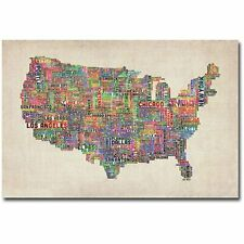 US Cities Text Map Canvas Wall Art