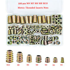 100Pcs Brass M4-M10 Threaded Hex Drive Insert Wood Screw Fixing Wood Inserts Nut